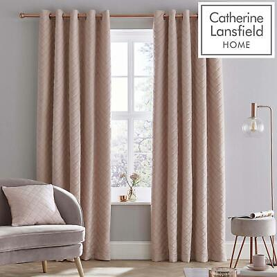 Catherine Lansfield Soft Luxe Velvet Blush Eyelet Curtains Ring Top Curtain Pair • 25.60£