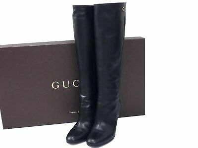 Auth Gucci Leather Women 35 Long Boots Shoes Black B1438 • 213.63£