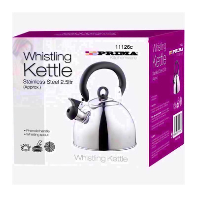Whistling Kettle 2.5 Litre Stainless Steel Stove Top Induction Gas Kitchen UK • 10.15£