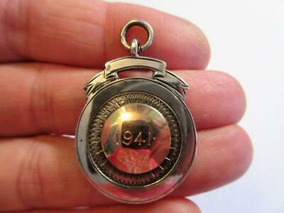 VINTAGE WW2 PERIOD SOLID SILVER & GOLD POCKET WATCH CHAIN FOB C1941 - 12.8g! • 14.50£