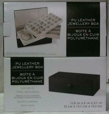 $ CDN1.88 • Buy NEW LOT OF 2 PU Leather Jewellery Boxes Black $50