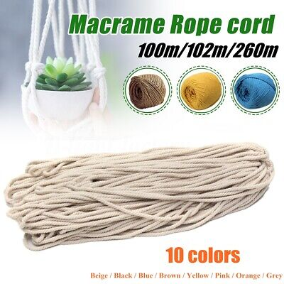 AU16.18 • Buy 3/5mm 100M/102M/260M Macrame Rope Cotton String Twisted Cord Artisans Hand