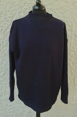 Traditional Navy Guernsey Jumper 100% Pure New Wool Size 44 / L • 18£