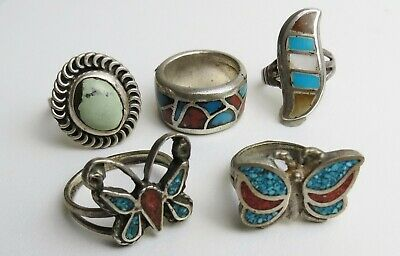 $ CDN38.44 • Buy VTG Lot Sterling Silver Coral Turquoise Zuni Native American Rings Butterfly Etc