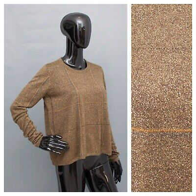 Jumper BY TI MO Bronze Glitter Wool Mix A-Line Top Relax Fit M • 16.99£