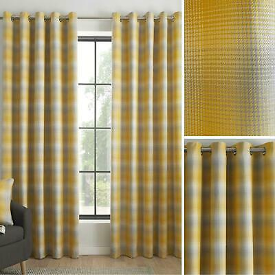 Ochre Eyelet Curtains Tartan Check Ready Made Lined Modern Ring Top Curtain Pair • 28.45£