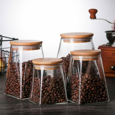 Glass Food Storage Containers With Lids Coffee Jar Tea Jar Glass Container Spice • 17£