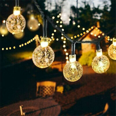 30 Solar Garden Lights String Fairy Multi LED Crystal Globe Ball Weatherproof H • 1.99£