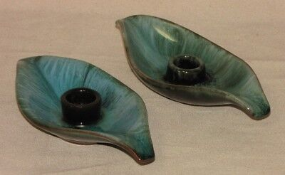 $ CDN2.99 • Buy Vintage Blue Mountain Pottery Pair Of Green/Black Glazed Candler Leaf Holders