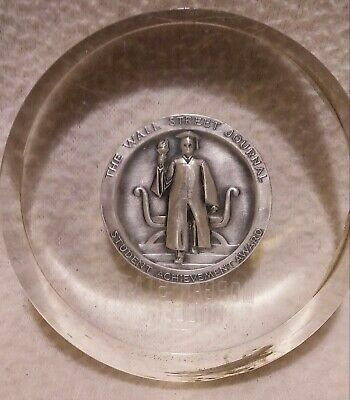 $9 • Buy Vtg 1963 The Wall Street Journal Student Award Lucite Paperweight .999 Silver