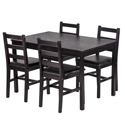$179.99 • Buy 5PCS Dining Table Set Pine Wood Kitchen Dinette Table With 4 Chairs DS-47