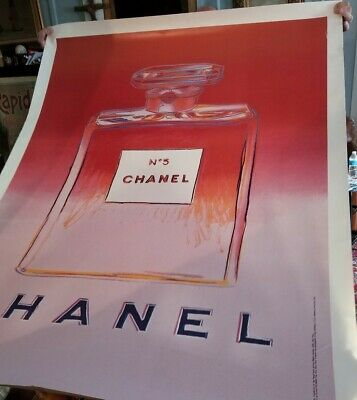 $900 • Buy Vintage Original Pink Chanel No 5 Andy Warhol 67 X 46.5 Linen Backed Poster 1997