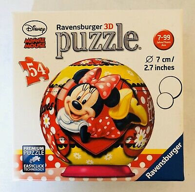 $18.24 • Buy Disney Minnie Mouse Jigsaw Puzzle Ball 54 Pcs Ravensburger 3-D 2.7 In. Complete