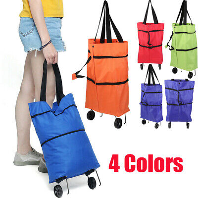 Shopping Trolley Cart Bag Foldable Wheels Carts Bags Market Luggage Basket Bags • 9.54£