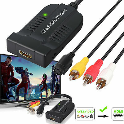 HDMI To Male AV/S Video Adapter 1080P Video Converter Box With AV Svideo Cable • 13.75£