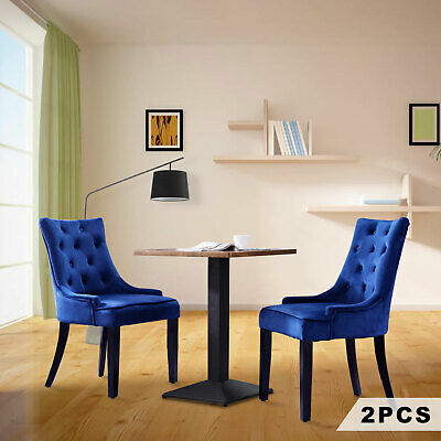 AU199.90 • Buy 2 PCS Dining Chairs French Provincial Fabric Kitchen Cafe Chair W/Wood Legs Blue