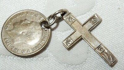 1919 Silver 3 Pence & Crucifix Cross - Lucky Soldiers Charm World War I Ww1 • 5.50£