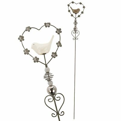Heart And Bird Ornamental Silver Metal Garden Patio Stake ~  One Supplied • 15.99£