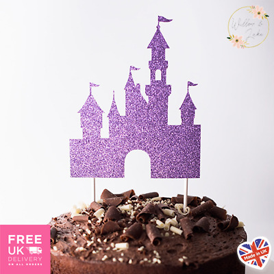 Fairytale Castle Birthday Cake Topper, Glitter Card, 14 Colours • 5.95£