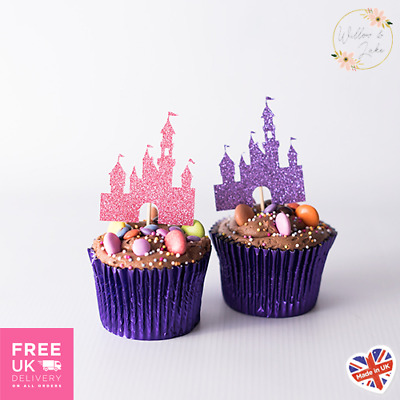 Fairytale Castle Birthday Cupcake Toppers Set Of 6, Glitter Card, 14 Colours • 3.95£
