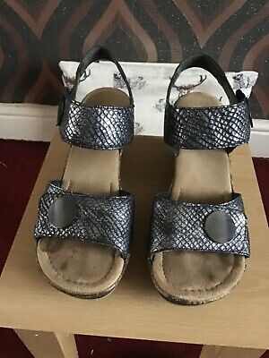 Rieker Pewter Sandals Shoes Size 6.5 40 Worn Once • 12.50£