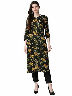 Indian Women Black & Mustard Yellow Cotton Kurta Kurti Style New Dress Pakistani • 11.34£