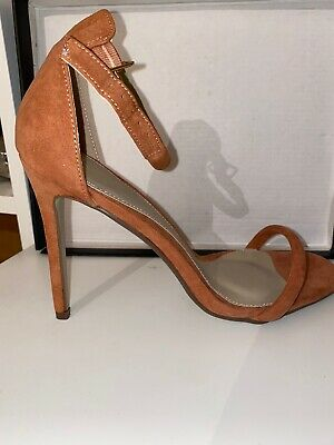 Ladies Ankle Strap Stiletto Heel Tan Shoes By Missguided Size 6 • 5£