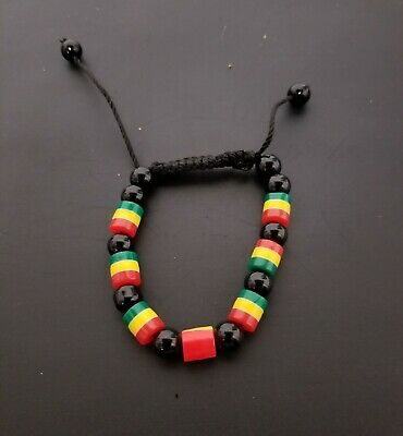 $8 • Buy African Style Handmade  Square Beaded Bracelet Rasta Red Green Yellow And Black