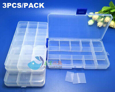 3PCS 15 Cell Clear Plastic Storage Organiser Compartment Craft Bead Box Case • 3.99£