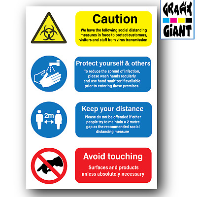 £5.99 • Buy Health And Safety A4 Social Distance Wash Sanitise Hands 2 Metres Poster Signs