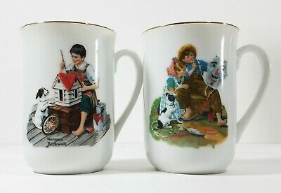 $ CDN42.46 • Buy 2 VTG Norman Rockwell Museum Cltn. Mugs-A Dollhouse For Sis& RARE The Kite Maker