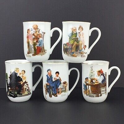 $ CDN19.99 • Buy Norman Rockwell Museum Coffee Cups 1982-1985 Set Of 5 - Eight Ounce Mugs
