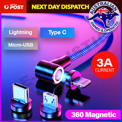 AU12.95 • Buy 360° Magnetic Lightning Cable/Micro/Type C To USB Fast Charging Charger 1M 2M AU
