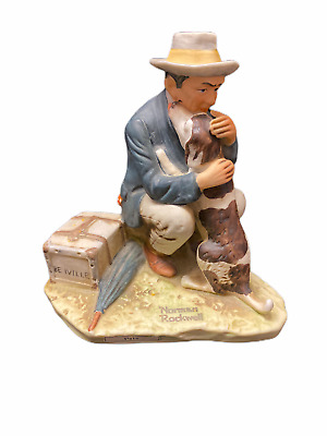 $ CDN20.69 • Buy Norman Rockwell Dave Grossman 1977 Saturday Evening Post Figurine Man With Dog