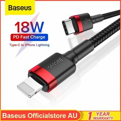 AU11.99 • Buy Baseus USB Type C To Lighting Charging Cable 18W Quick Charge For IPhone 12 XS X