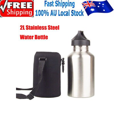 AU23.99 • Buy 2L Stainless Steel Cycling Sports Outdoor Water Drink Bottle With Bottle Pouch