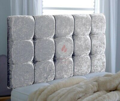 Crushed Velvet Cube Headboard  24  Bed Head - Single - Double - King Size • 39.99£