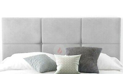 Plush Velvet Headboard 6 Cube 20  Height - Small, Double, King, Super King • 39.99£