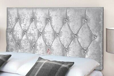 Crushed Velvet Headboard Diamond 20  Bed Head - Single - Double - King Size • 42.99£