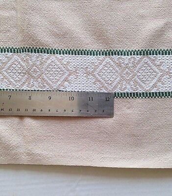 Beige French Cotton Square Tablecloth With 4 Woven Bands Of Rustic Design  130cm • 20£
