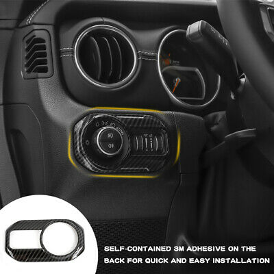 $14.36 • Buy Headlight Switch Button Cover Trims For 2018+ Jeep Wrangler JL JLU Carbon Fiber