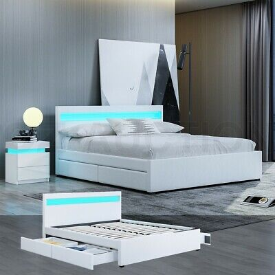 AU359.95 • Buy New Queen Size LED Wooden Bed Frame PU Leather 4 Drawers Storage Bed Base White