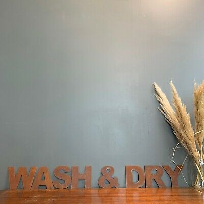 Rusty Metal Letters /  Metal Wall Art / Laundry Sign / Bathroom Sign /WASH & DRY • 56.39£