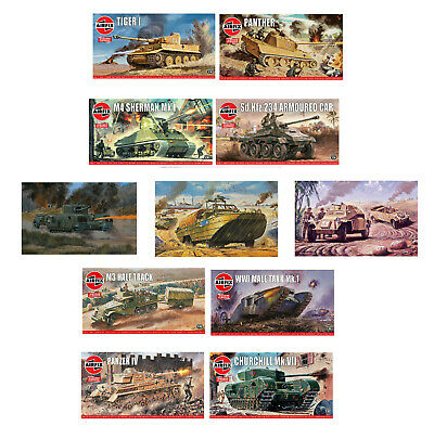 Airfix Classic Model Kits World War Tanks & Military Vehicles WWI WWII 1:76 Sets • 9.25£
