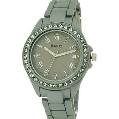 £25.95 • Buy Henley Glamour Ladies Diamante Bezel Silver Soft Touch  Rubberised WatchH07202.1