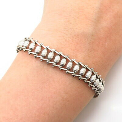 $53.99 • Buy 925 Sterling Silver Italy Foxtail / Book Link Bracelet 7.5