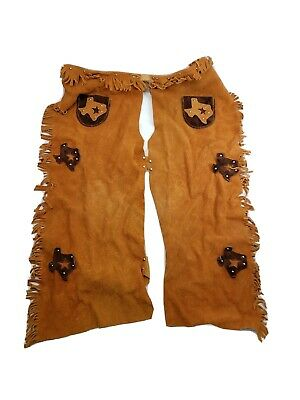 $25 • Buy Cowboy, Chaps, Leather, Texas, Tan, WESTERN, Suede, KIDS, Costume, LARGE