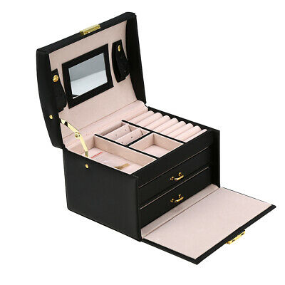 AU20.98 • Buy 3 Layer Jewelry Storage Holder Box Earring Necklace Display Case Cabinet Black