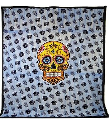 Sugar Skull Day Of The Dead Mexican Print Indian Made Cotton Throw 210 X 230cm • 16.99£