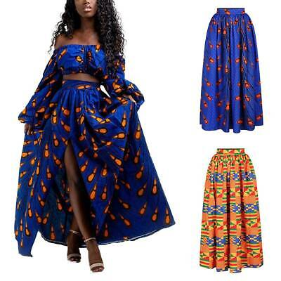 Womens Ethnic Pleated Long Maxi Skirt Dress African Printed Skater Swing Skirts • 12.99£